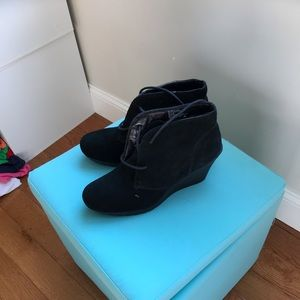 Worn once - Suede black wedge/heeled shoes sz 9.5